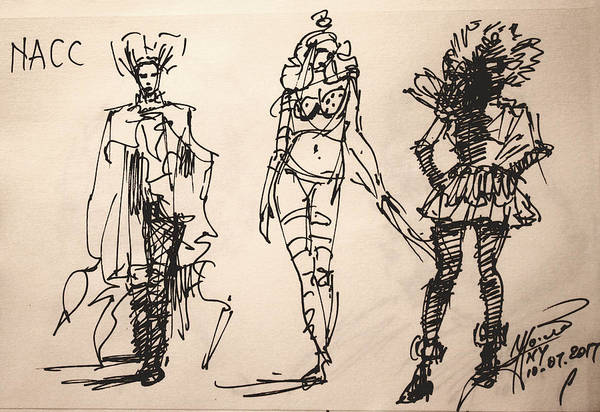 Wall Art - Drawing - Fun At Art Of Fashion At Nacc by Ylli Haruni