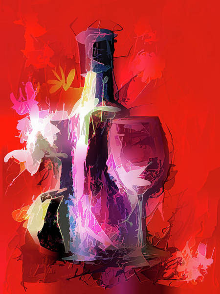 Digital Art - Fun Colorful Modern Wine Art   by OLena Art - Lena Owens