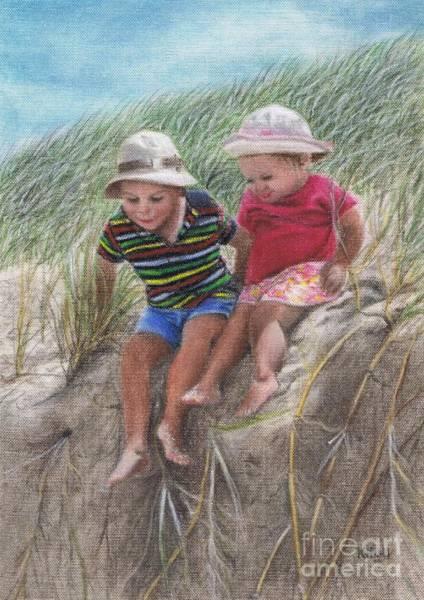 Beach Grass Drawing - Fun In The Dunes by Karen Hull