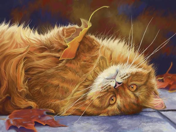 Domestic Cat Wall Art - Digital Art - Fun In The Fall by Lucie Bilodeau