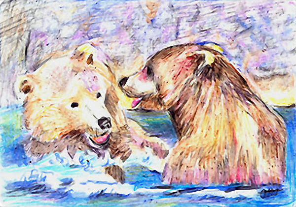 Grizzlies Mixed Media - Fun In The Water by Arline Wagner