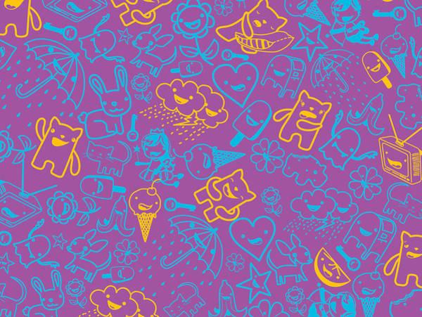 Purple Rain Digital Art - Fun Pattern by Seedys