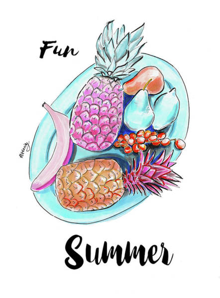 Pineapples Drawing - Fun Summer by Viktoryia Lavtsevich