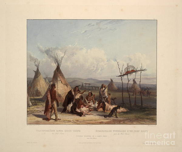 Scaffold Painting - Funeral Scaffold Of A Sioux Chief Near Fort Pierre by Celestial Images