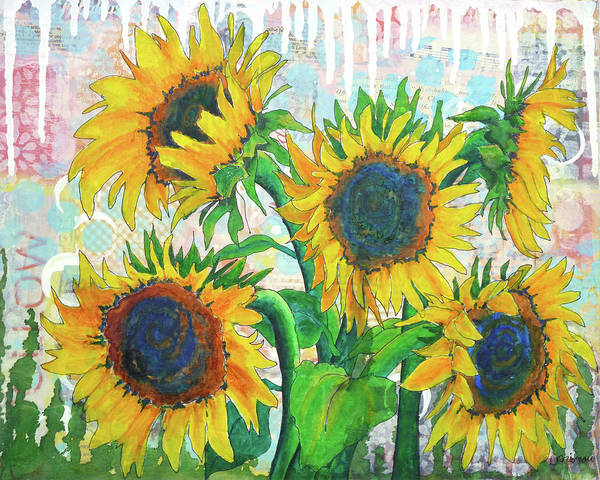 Painting - Funflowers by Lisa Crisman
