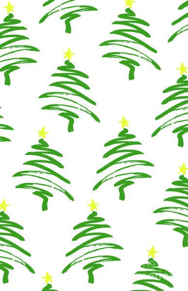 Wall Art - Digital Art - Funky Christmas Trees by Louisa Knight