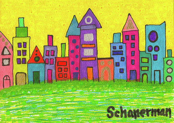 Drawing - Funky City by Susan Schanerman