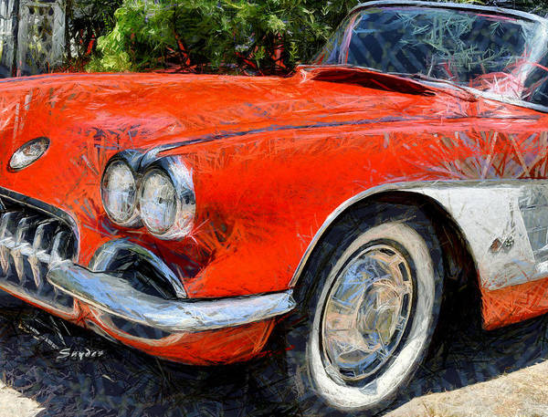 Digital Art - Funky Corvette Nipomo California by Floyd Snyder
