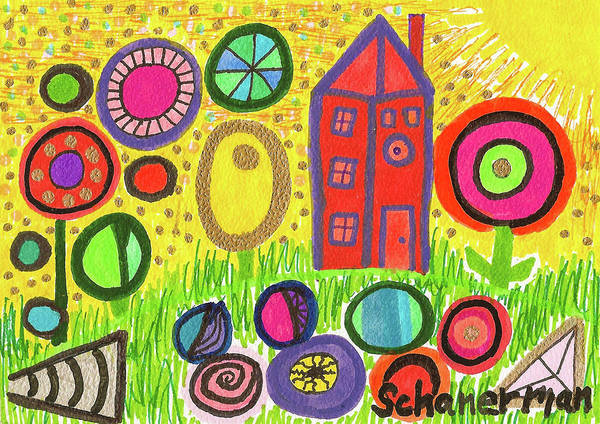 Drawing - Funky Countryside by Susan Schanerman