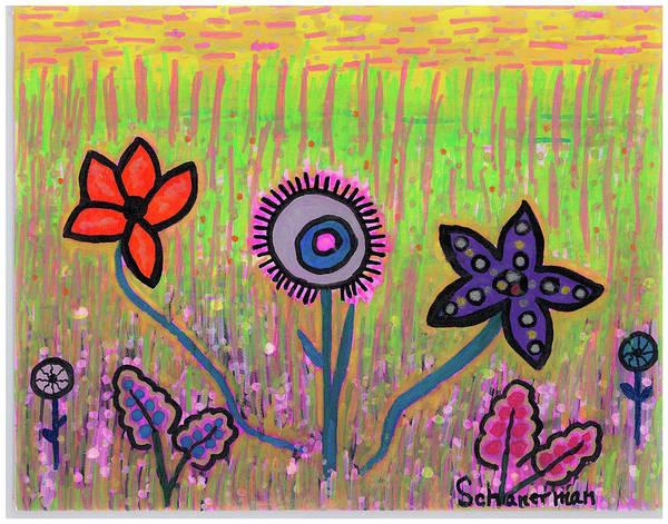 Drawing - Funky Flowers In A Field Of Green by Susan Schanerman