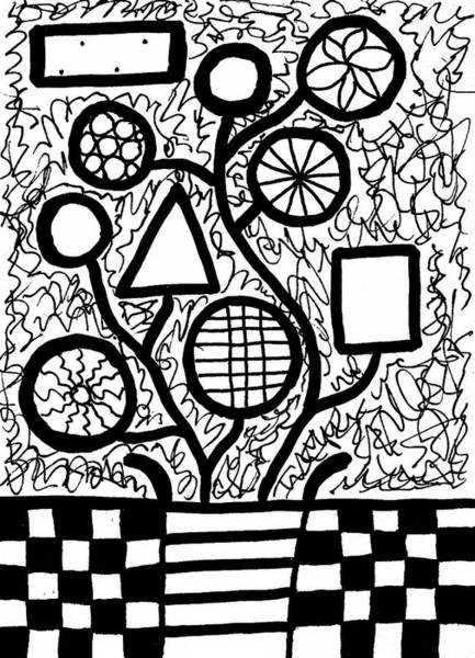 Drawing - Funky Flowers In Black And White 1 by Susan Schanerman