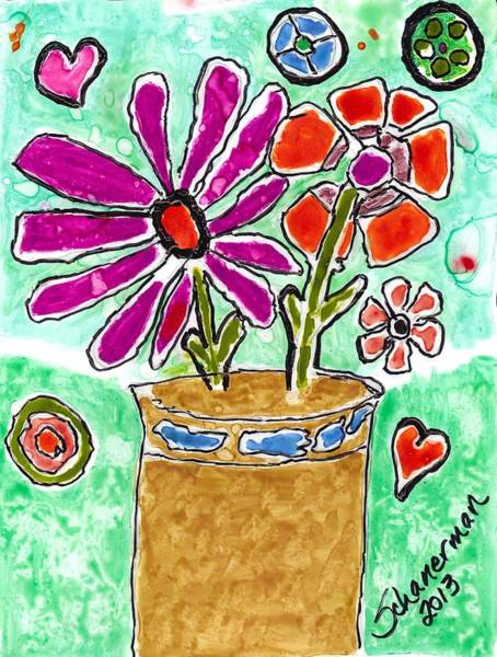 Painting - Funky Flowers by Susan Schanerman