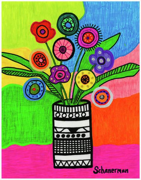 Drawing - Funky Folk Flowers by Susan Schanerman
