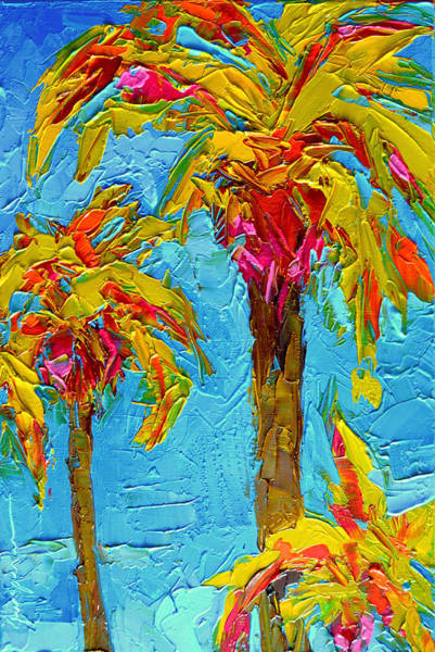 Funky Fun Palm Trees - Modern Impressionist Knife Palette Oil Painting Art Print