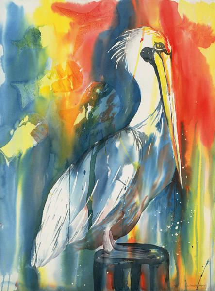Funky Pelican Art Print
