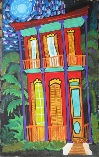 Katrina Digital Art - Funky Red House In New Orleans by Linda MorganSmith