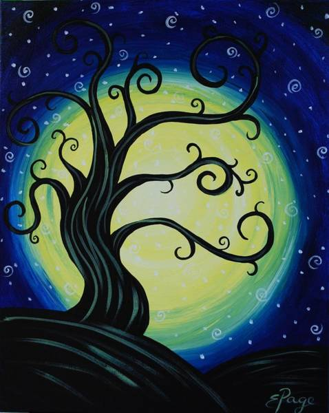 Painting - Funky Tree At Midnight by Emily Page