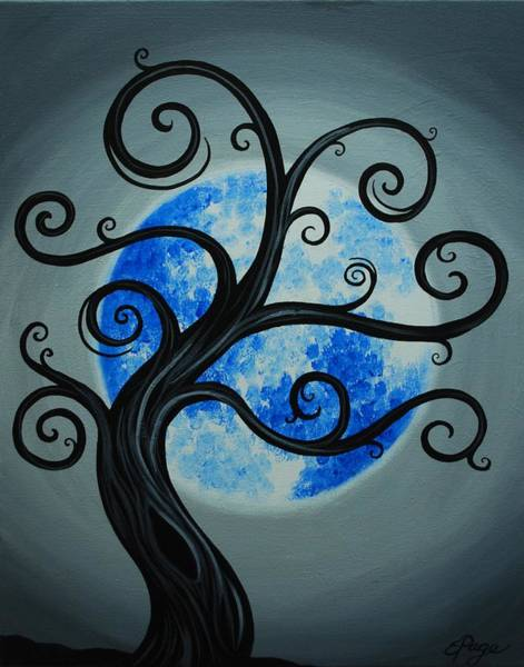 Painting - Funky Tree Blue Moon by Emily Page