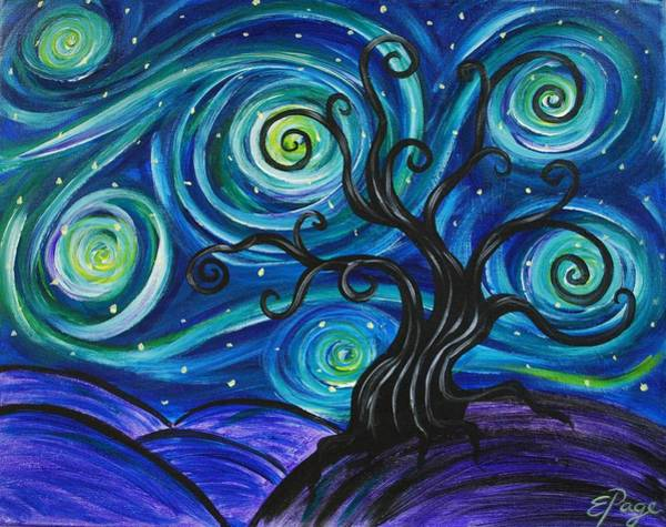Painting - Funky Tree, Starry Night by Emily Page