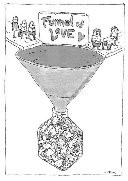 Bottle Drawing - Funnel Of Love by Colin Tom