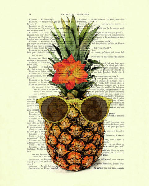 Pineapples Digital Art - Funny And Cute Pineapple Art by Madame Memento