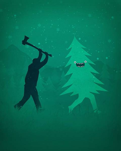 Wall Art - Digital Art - Funny Cartoon Christmas Tree Is Chased By Lumberjack Run Forrest Run by Philipp Rietz