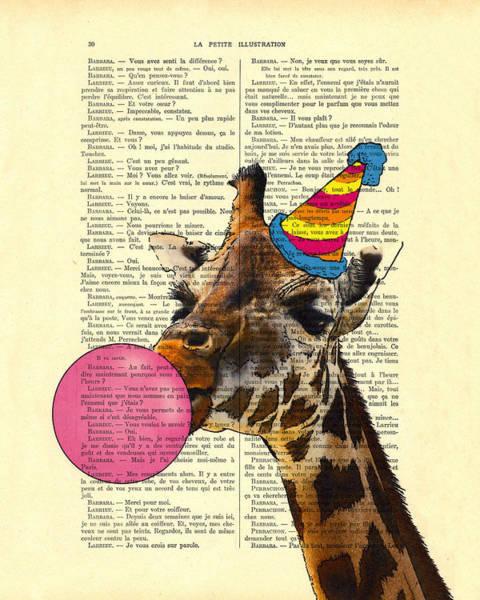 Party Wall Art - Digital Art - Funny Giraffe, Dictionary Art by Madame Memento