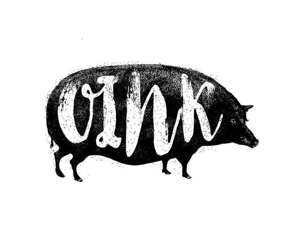 Bacon Wall Art - Digital Art - Funny Oink Pig by Antique Images