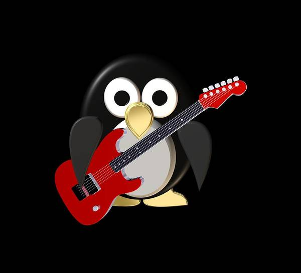 Hardrock Digital Art - Funny Penguin With Guitar by Igor Sinitsyn