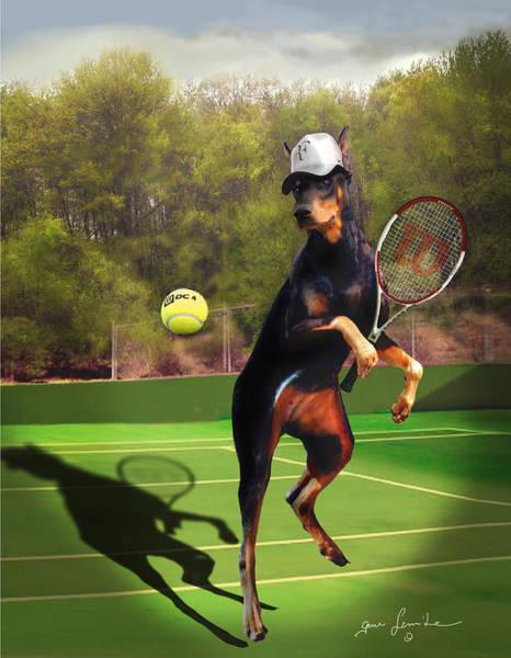 Wall Art - Painting - funny pet scene tennis playing Doberman by Regina Femrite