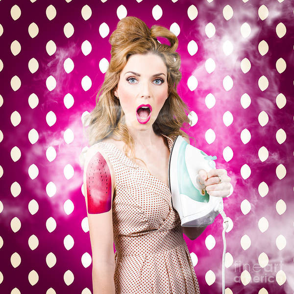 Photograph - Funny Pin-up Woman Pressing Clothes. Dry Cleaning by Jorgo Photography - Wall Art Gallery