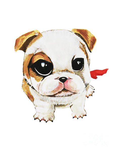 Painting - Funny Puppy Hand Painted Watercolor  by Rasirote Buakeeree