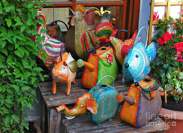 Photograph - Funny Watering Cans by Jutta Maria Pusl