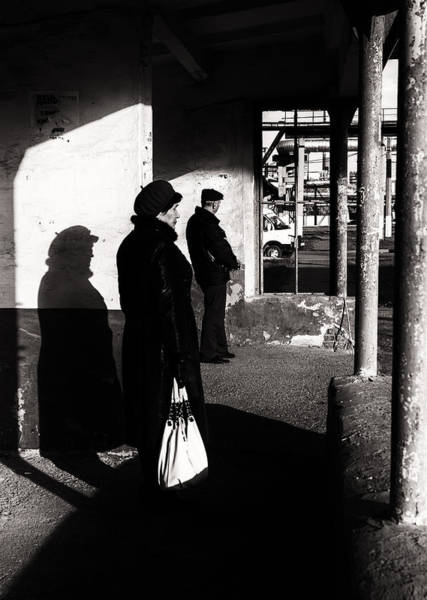Photograph - Fur Hat Woman Waiting At Bus Stop by John Williams