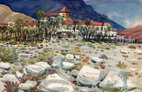Death Valley Painting - Furnace Creek Inn In Death Valley by Donald Maier