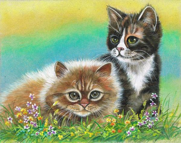 Painting - Furry Friends by Val Stokes