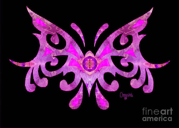 Digital Art - Fuschia Tribal Butterfly Abstract Macro Transformations By Omash by Omaste Witkowski