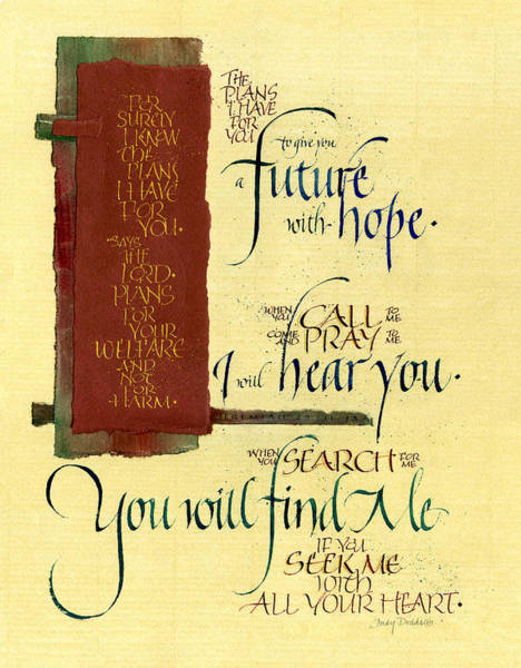 Scripture Mixed Media - Future Hope I by Judy Dodds