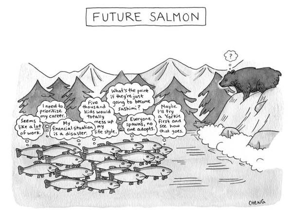Salmon Drawing - Future Salmon by Alice Cheng