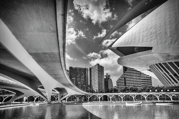 Arte Photograph - Futuristic Architecture Of Valencia Spain In Black And White  by Carol Japp