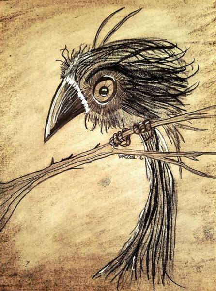 Magpies Drawing - Futuristic Whimsical Baby Crow by Scott D Van Osdol