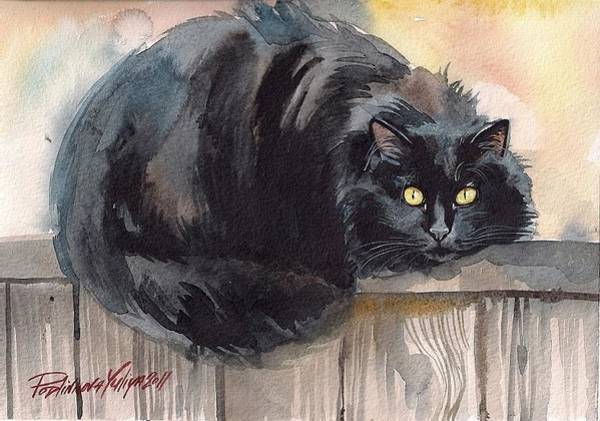 Wall Art - Painting - Fuzzy Black Cat by Yuliya Podlinnova