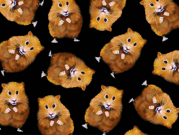 Wall Art - Mixed Media - Fuzzy Hamster Pattern On Black by Joyce Geleynse