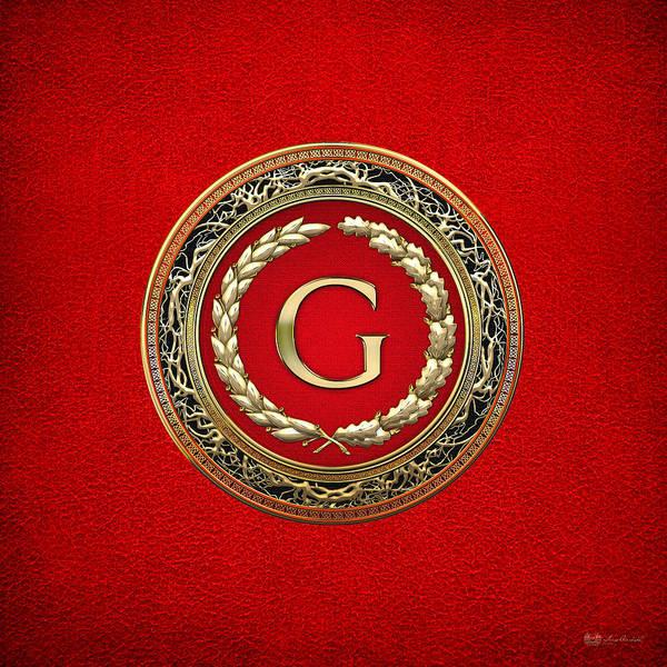 Digital Art - G - Gold Vintage Monogram On Red Leather by Serge Averbukh