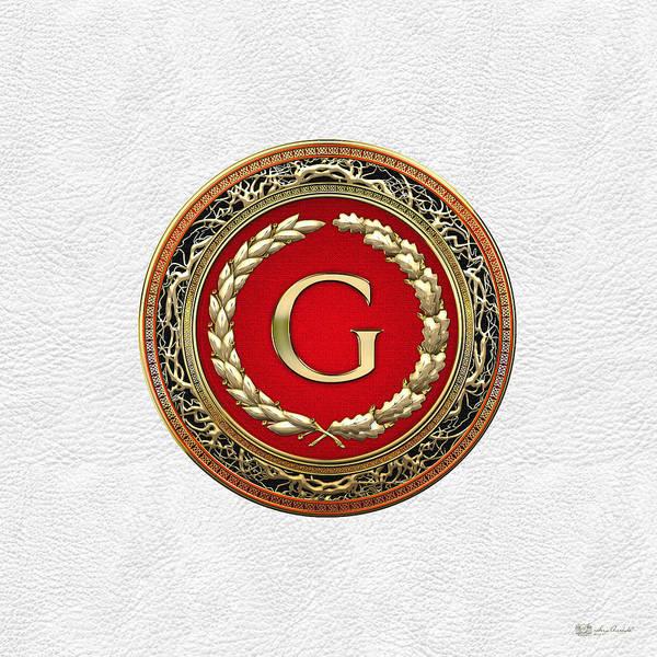 Digital Art - G - Gold Vintage Monogram On White Leather by Serge Averbukh