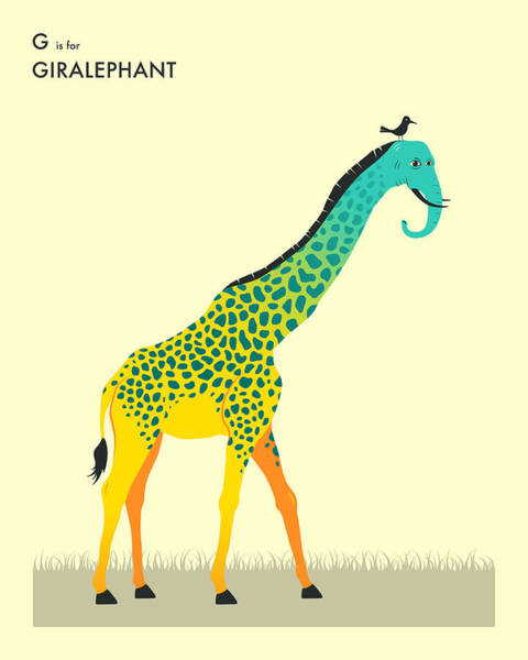 Wall Art - Digital Art - G Is For Giralephant by Jazzberry Blue