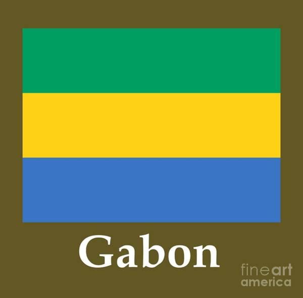 Gabon Digital Art - Gabon Flag And Name by Frederick Holiday