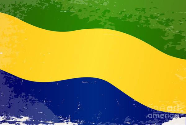 Gabon Digital Art - Gabon Flag Grunge by Bigalbaloo Stock