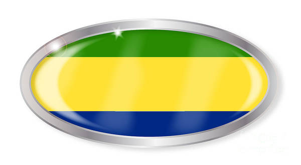 Gabon Digital Art - Gabon Flag Oval Button by Bigalbaloo Stock