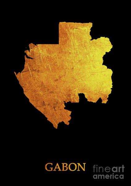 Gabon Digital Art - Gabon - Gold Black by Prar Kulasekara